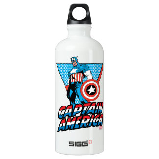 Captain America Retro Character Graphic Water Bottle