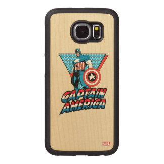 Captain America Retro Character Graphic Wood Phone Case