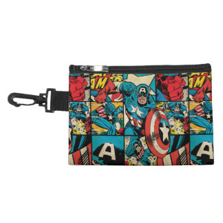 Captain America Retro Comic Book Pattern Accessory Bags