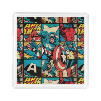 Captain America Retro Comic Book Pattern Acrylic Tray