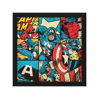 Captain America Retro Comic Book Pattern Canvas Print
