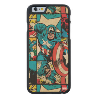 Captain America Retro Comic Book Pattern Carved Maple iPhone 6 Case