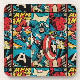 Captain America Retro Comic Book Pattern Coaster