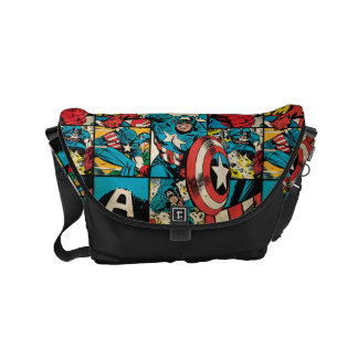 Captain America Retro Comic Book Pattern Commuter Bag