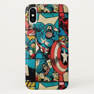 Captain America Retro Comic Book Pattern iPhone X Case