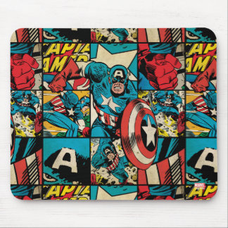 Captain America Retro Comic Book Pattern Mouse Pad