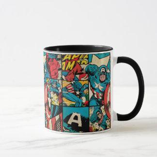 Captain America Retro Comic Book Pattern Mug