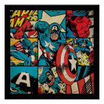 Captain America Retro Comic Book Pattern Poster