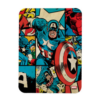 Captain America Retro Comic Book Pattern Rectangular Photo Magnet