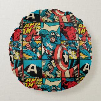 Captain America Retro Comic Book Pattern Round Pillow