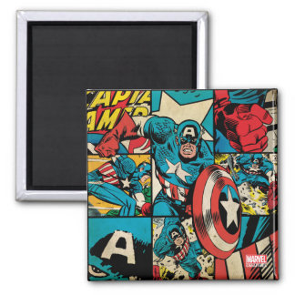 Captain America Retro Comic Book Pattern Square Magnet