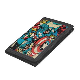 Captain America Retro Comic Book Pattern Trifold Wallet
