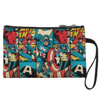 Captain America Retro Comic Book Pattern Wristlet