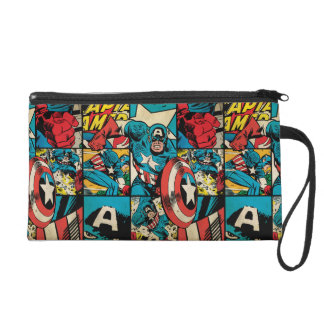 Captain America Retro Comic Book Pattern Wristlet Purses