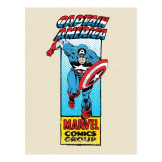 Captain America Retro Comic Character Postcard