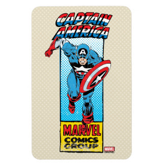 Captain America Retro Comic Character Rectangular Photo Magnet