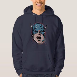 Captain America Retro Comic Halftone Head Hoodie