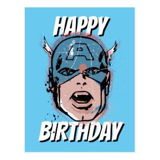 Captain America Retro Comic Halftone Head Postcard