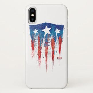 Captain America Retro Shield Paint Brush Strokes iPhone X Case
