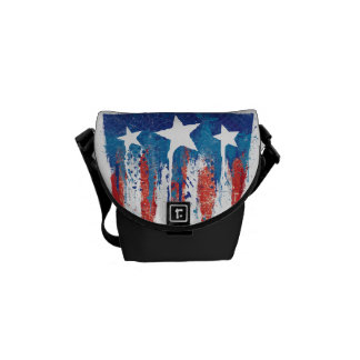 Captain America Retro Shield Paint Brush Strokes Messenger Bag