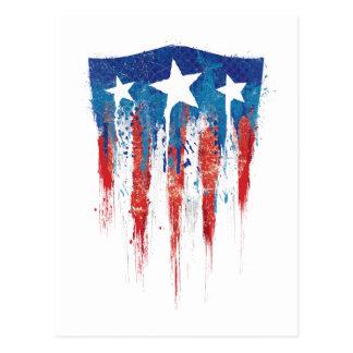 Captain America Retro Shield Paint Brush Strokes Postcard