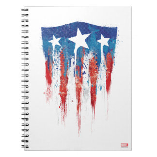 Captain America Retro Shield Paint Brush Strokes Spiral Notebook