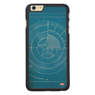 Captain America Shield Blueprint Carved® Maple iPhone 6 Plus Case