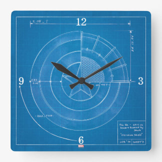 Captain America Shield Blueprint Clocks