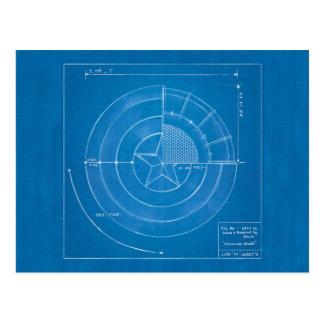 Captain America Shield Blueprint Postcard