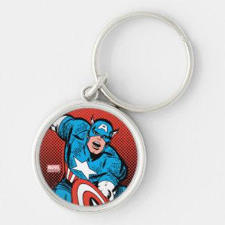 Captain America Shield Slam Silver-Colored Round Keychain