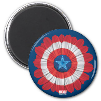 Captain America Shield Styled Daisy Flower 2 Inch Round Magnet