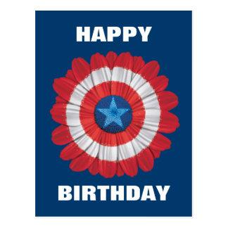 Captain America Shield Styled Daisy Flower Postcard