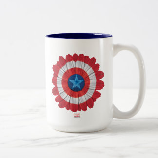 Captain America Shield Styled Daisy Flower Two-Tone Coffee Mug