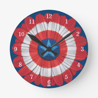 Captain America Shield Styled Daisy Flower Wall Clock
