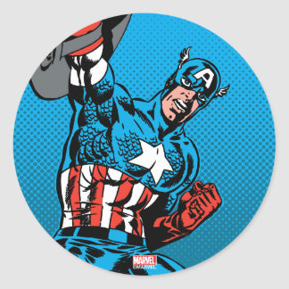 Captain America Shield Up Classic Round Sticker