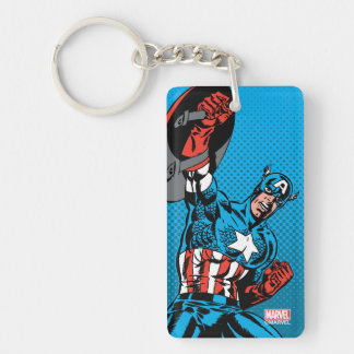 Captain America Shield Up Double-Sided Rectangular Acrylic Keychain