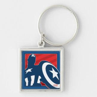 Captain America Silhouette Icon Silver-Colored Square Keychain