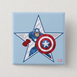 Captain America Star Graphic 2 Inch Square Button
