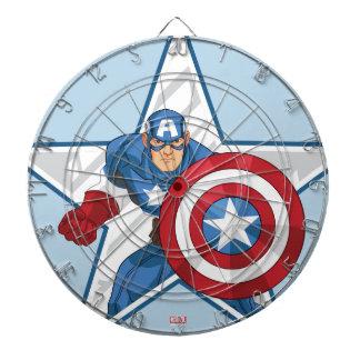 Captain America Star Graphic Dartboard With Darts