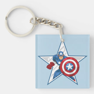 Captain America Star Graphic Double-Sided Square Acrylic Keychain