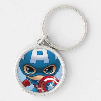 Captain America Stylized Art Silver-Colored Round Keychain