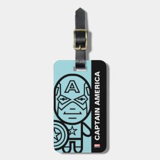Captain America Stylized Line Art Bag Tag