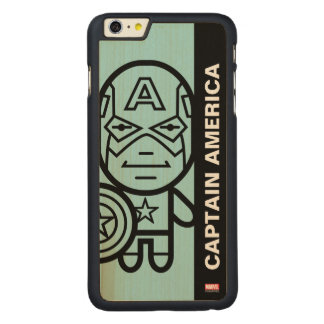 Captain America Stylized Line Art Carved® Maple iPhone 6 Plus Case