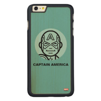 Captain America Stylized Line Art Icon Carved® Maple iPhone 6 Plus Case