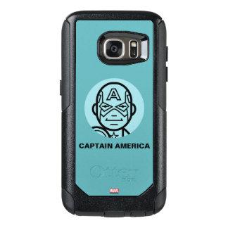 Captain America Stylized Line Art Icon OtterBox Samsung Galaxy S7 Case