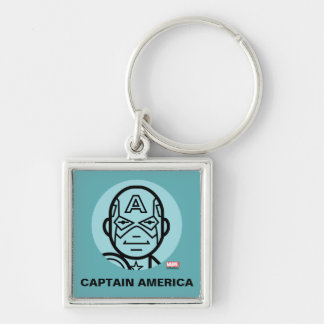 Captain America Stylized Line Art Icon Silver-Colored Square Keychain