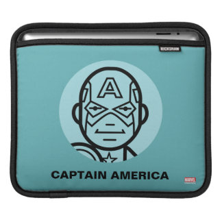Captain America Stylized Line Art Icon Sleeve For iPads