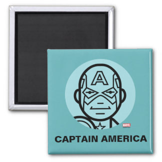Captain America Stylized Line Art Icon Square Magnet