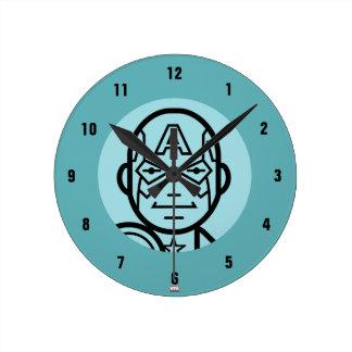 Captain America Stylized Line Art Icon Wall Clock
