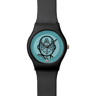 Captain America Stylized Line Art Icon Watches